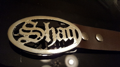 chrome name belt buckle