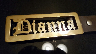 gold custom name belt buckle
