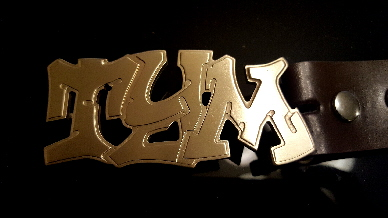 old school name belt buckle